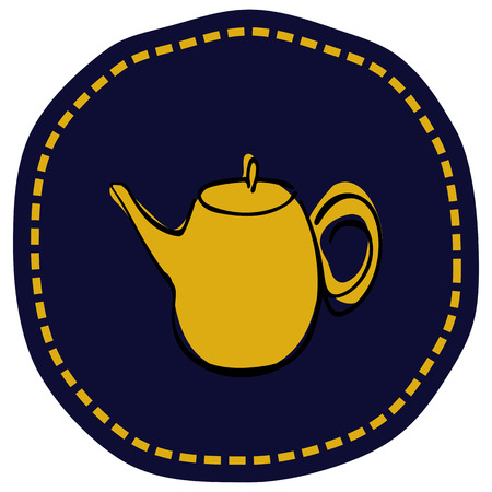 Tea pot simple line icon vector illustration
