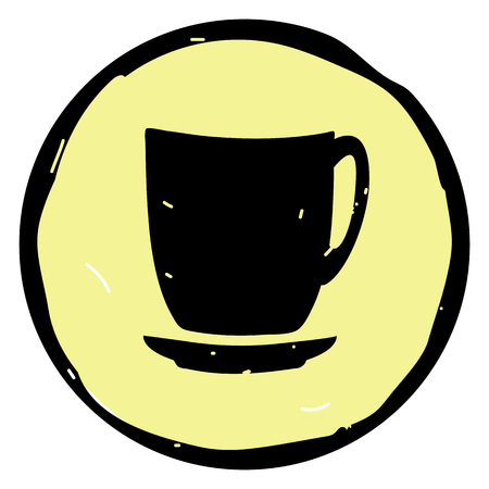 Cup icon vector illustration on yellow background. EPS 10