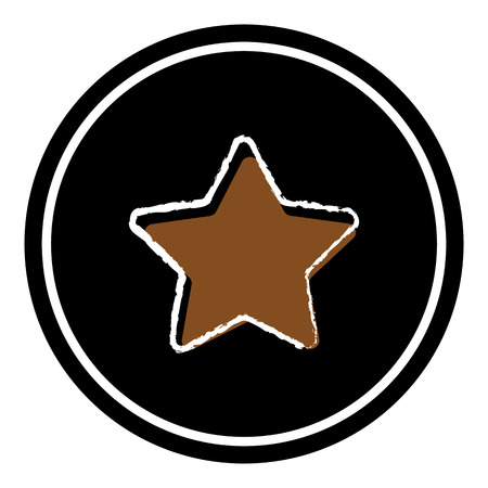 Star button icon vector illustration on black background. Eps10