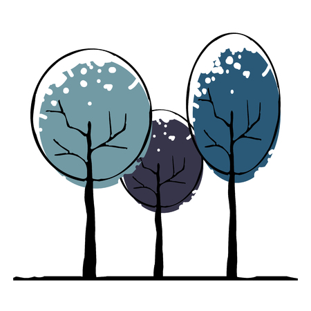 Winter trees icon vector illustration on white background. Eps10