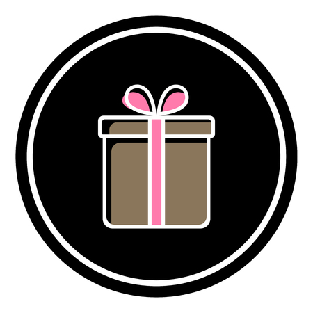Valentine gift box vector illustration on black background. Eps10