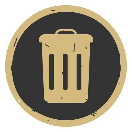 Rubbish bin icon vector illustration on gray background. Eps10