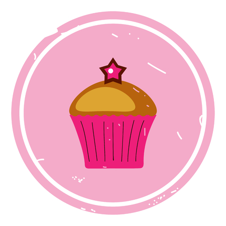 Cupcake icon vector illustration on pink background. Eps 10