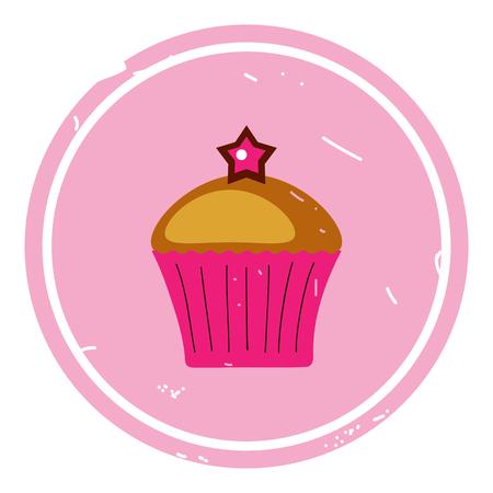 Cupcake-Symbol-Vektor-Illustration auf rosa Hintergrund. eps 10 Vektorgrafik