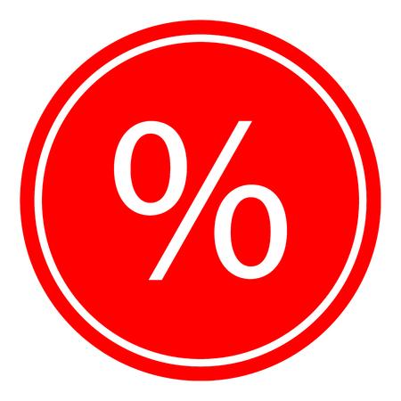 Percent sign icon vector illustration on red background. Eps10 Ilustração
