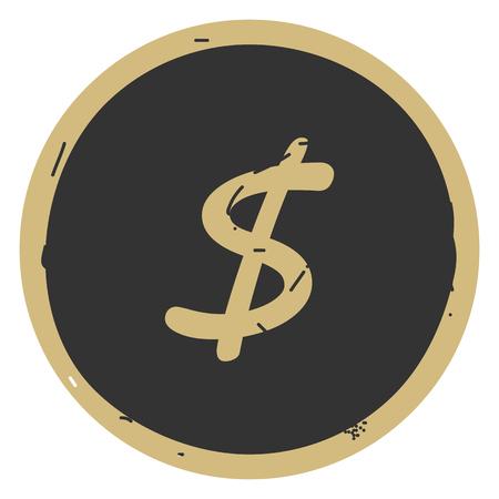 Dollar icon button vector illustration on gray background EPS10 Ilustração