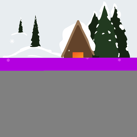 Winter house with trees and snow. Vector illustration. Eps10
