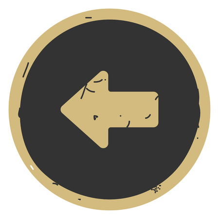 Arrow left button icon vector illustration on gray background