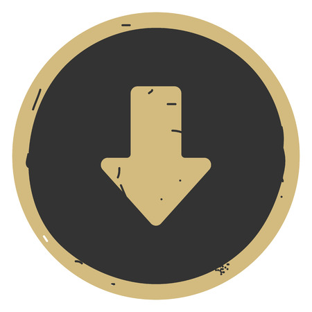 Arrow down icon vector illustration on gray background