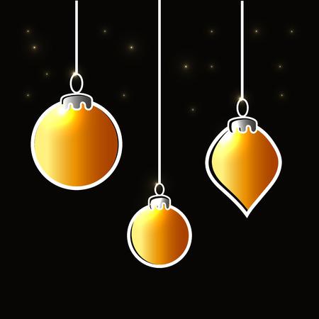 Christmas dark background with gold ball. Vector Illustration. Eps10 Ilustração