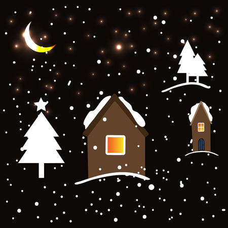 Dark background with crescent golden moon and stars, snow and trees, home. Eps10