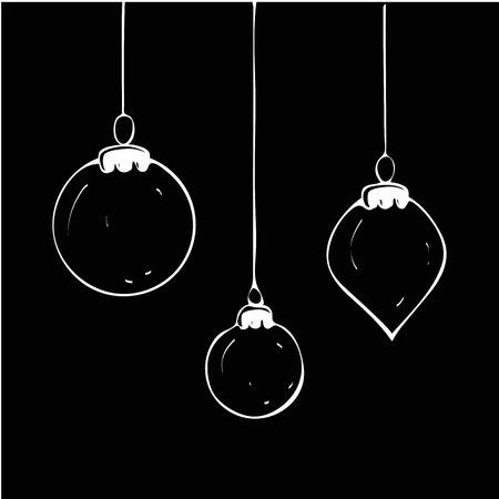 Christmas balls set on black background. Vector Illustration. Eps10 Ilustração