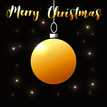 Christmas lights background with gold ball. Vector Illustration. Eps10 Ilustração