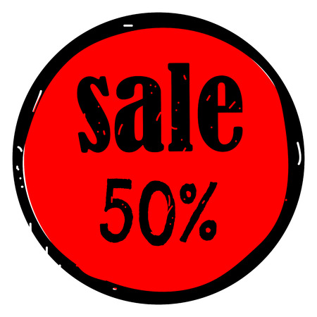 Sale red tag isolated vector illustration. Sale badge, sticker, label, tag on red background. 50 percent off discount