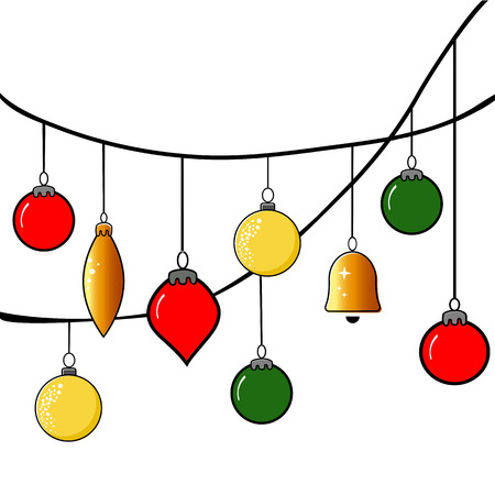 Christmas balls set on white background. Vector Illustration. Eps10