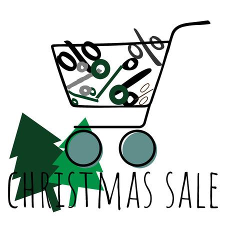Cart shopping icon vector illustration on white background Ilustração