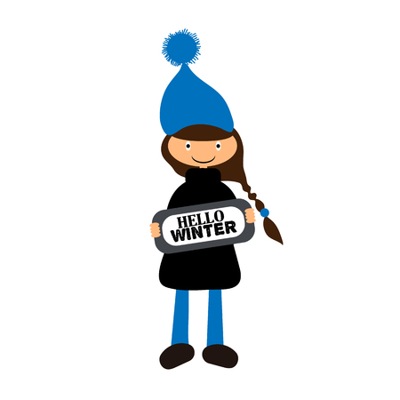 Little people in winter vector illustration on white background