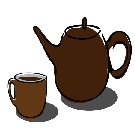 Tea pot and cup simple line icon vector illustration on white background Banco de Imagens - 124326772