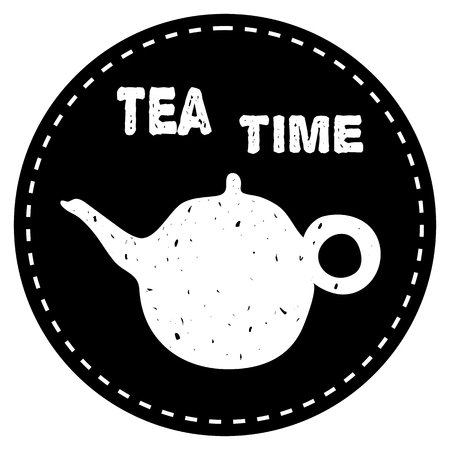 Tea pot simple icon vector illustration on black background