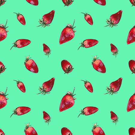 Seamless pattern with strawberries on green background. Hand draw illustration 写真素材