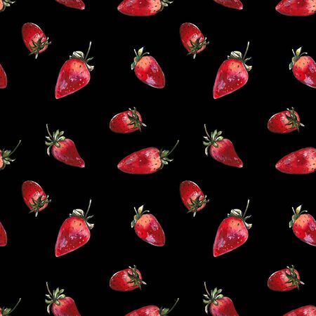 Seamless pattern with strawberries on black background. Hand draw illustration