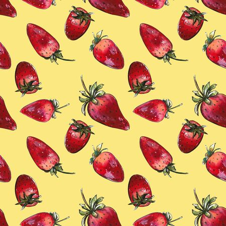Seamless pattern with strawberries on yellow background. Hand draw illustration Banco de Imagens - 128747671