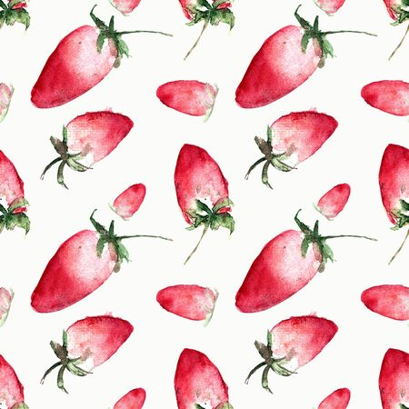Seamless pattern with strawberry. Hand draw illustration