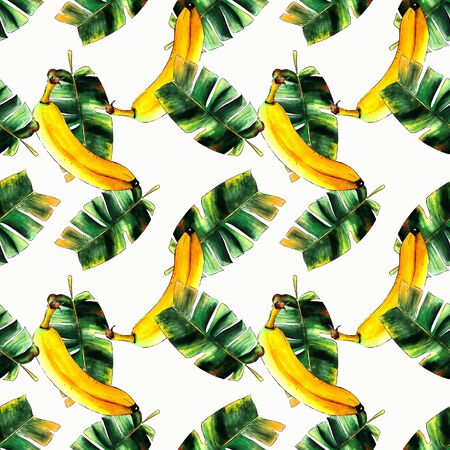 Seamless pattern with bananas and leaves on white background Hand draw illustration. Banco de Imagens - 128747718
