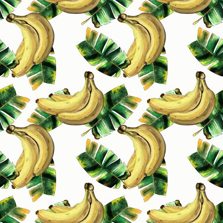 Seamless pattern with bananas and leaves on white background Hand draw illustration.