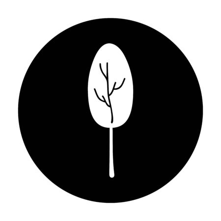 Tree icon illustration on black background Imagens
