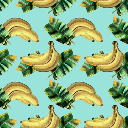 Seamless pattern with bananas and leaves on blue background Hand draw illustration. Banco de Imagens