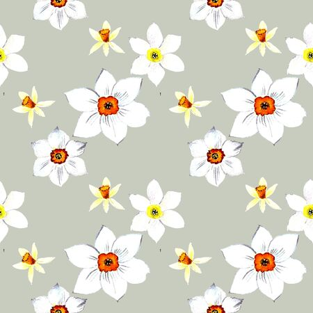 Seamless pattern with narcissus watercolor illustration on gray background