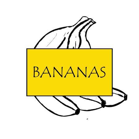 Bananas set. Hand draw illustration on white background. Marker illustration Banco de Imagens - 128749049