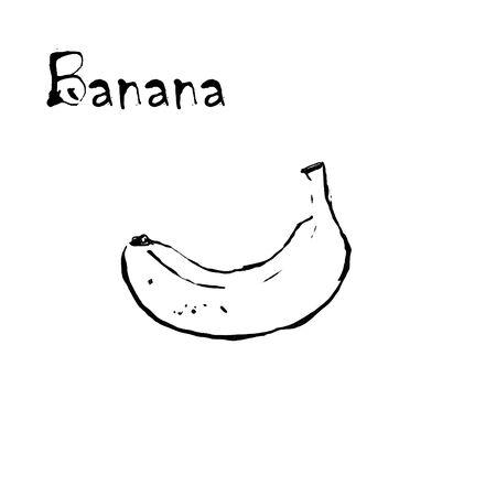 Banana on white background. Hand draw illustration Banco de Imagens - 128749072