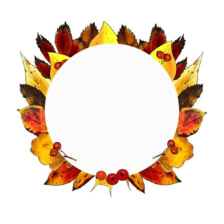 Autumn wreath with leaves, herbs, berries on white background.