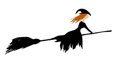 Witch with red hair on a broomstick on white background Vector illustration