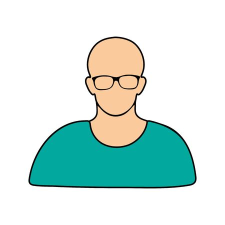 User icon in glasses Vector illustration on white background