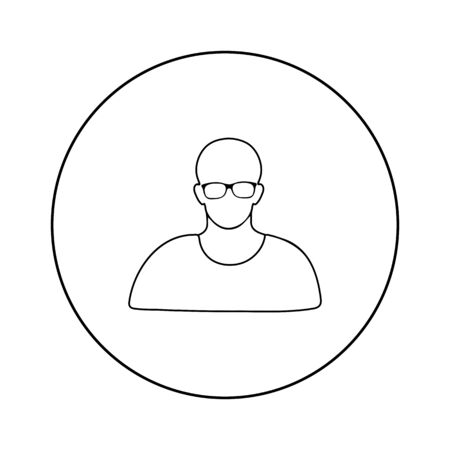 User outline icon in glasses Vector illustration on white background