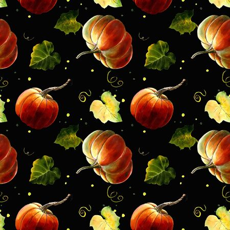 Seamless pattern with pumkins and leaves on dark background Hand draw illustration.
