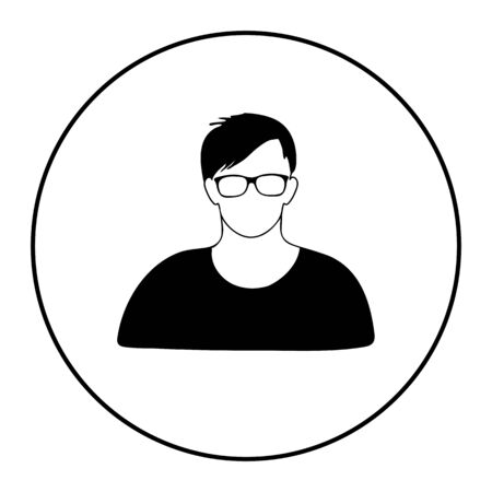 User icon vector in glasses illustration on white background Çizim