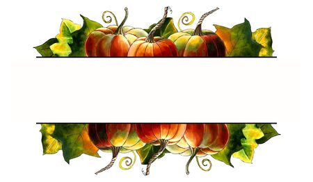 Template with pumpkins and leaves on white background Hand draw illustration Stok Fotoğraf