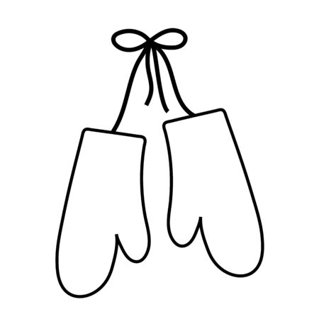 Winter mittens outline icon on white background Christmas mitten. Stok Fotoğraf