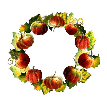 Wreath with pumpkins and leaves Hand drawn Illustration on white background. Stok Fotoğraf