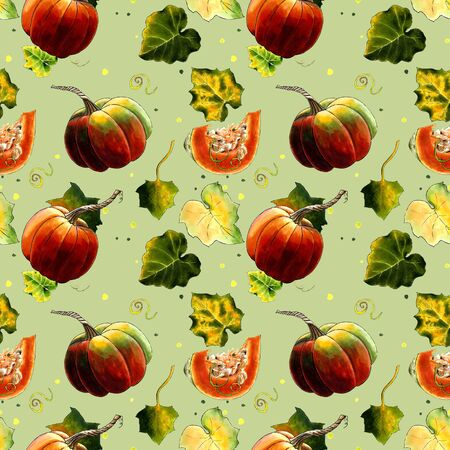 Seamless pattern with pumkins and leaves on green background Hand draw illustration. Stok Fotoğraf