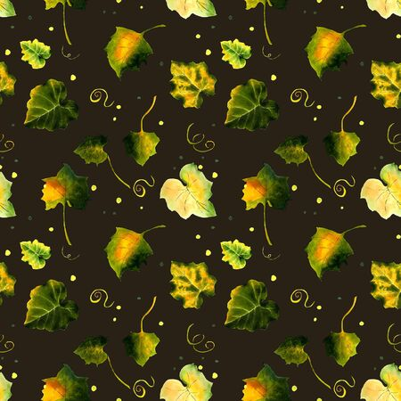 Seamless pattern with leaves on dark background Hand draw illustration.