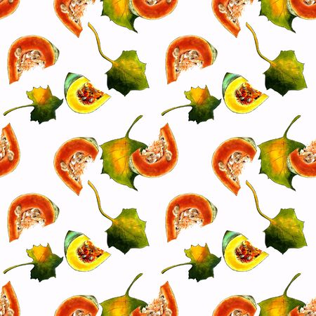 Seamless pattern with pumkins and leaves on white background Hand draw illustration. Stok Fotoğraf