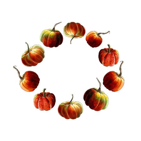 Wreath with pumpkins Hand drawn Illustration on white background.
