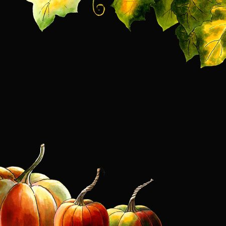 Template with pumpkins and leaves on black background Hand draw illustration