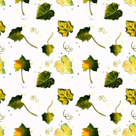 Seamless pattern with leaves on white background Hand draw illustration. Stok Fotoğraf