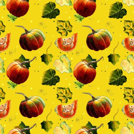 Seamless pattern with pumkins and leaves on yellow background Hand draw illustration. Stok Fotoğraf